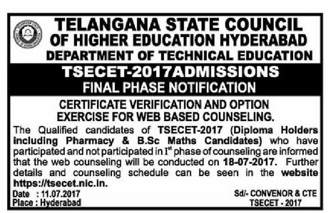ts ecet 2017 final phase counselling notification