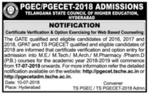 TS PGECET Counselling Dates 2018 Rank Wise, Certificate verification, Web Options @ pgecetadm.tsche.ac.in
