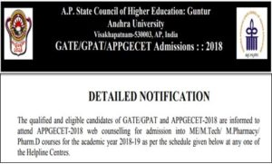 AP PGECET Counselling Dates 2018 Rank Wise (GATE/GPAT) @ appgecet.nic.in