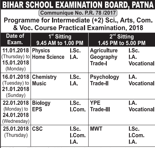 Practical Examination Date for Senior Secondary