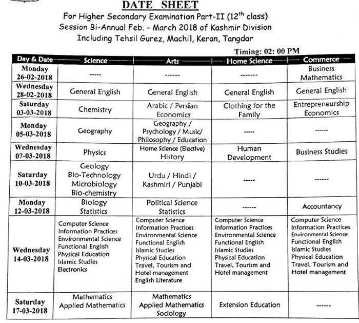jkbose 12th date sheet 2018