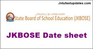 JKBOSE HSE (12th Class) Date Sheet 2018 Bi-Annual Exam (Kashmir Division)