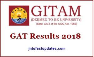 GITAM GAT Results 2018
