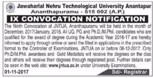 JNTUA 9th Convocation Notification for all UG, PG, M.Phil and Ph.D Candidates