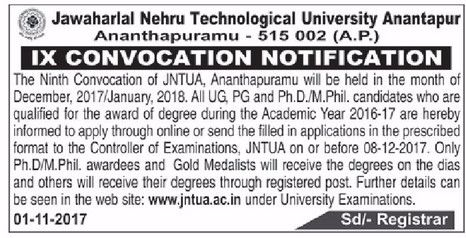 JNTUA 9th Convocation Notification