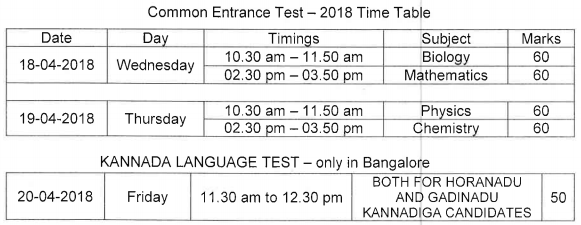Karnataka CET Time Table 2018