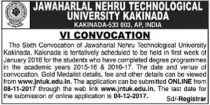 JNTUK 6th Convocation Notification – Instructions For Applying ONLINE OD