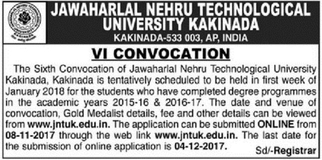JNTUK 6th Convocation Notification U2013 Instructions For Applying ONLINE OD