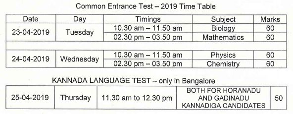 Karnataka CET Time Table 2019