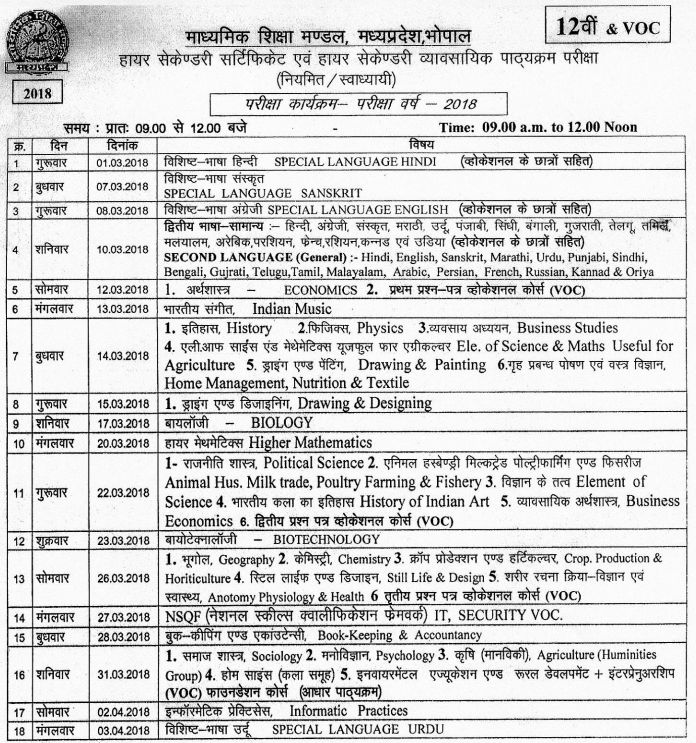 Mp board higher secondary time table 2018 madhya pradesh for 12th time table