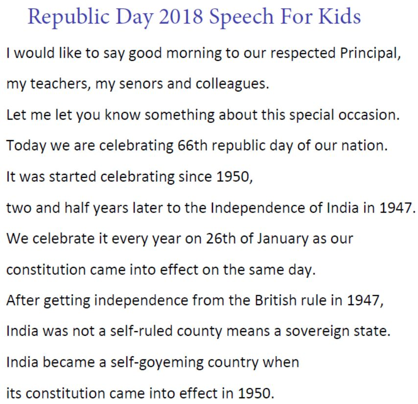 Republic Day 2018 Speech For Kids