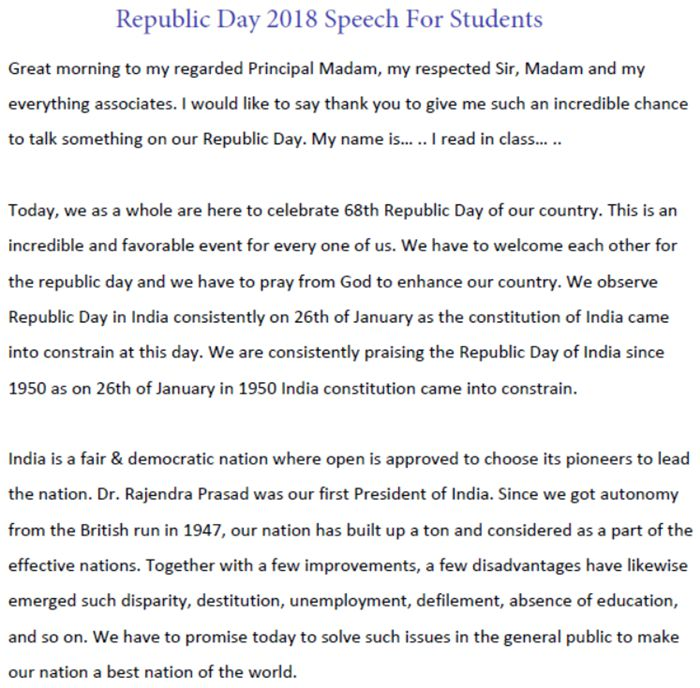 Republic Day 2018 Speech For Students