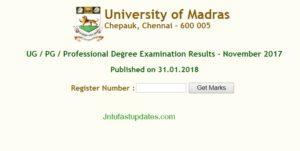 Madras University Results 2018 Declared – UNOM Result UG/PG 1st 2nd 3rd year Nov 2017 @ unom.ac.in