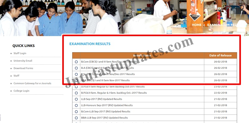 OU Degree 1st semester Results 2017-18