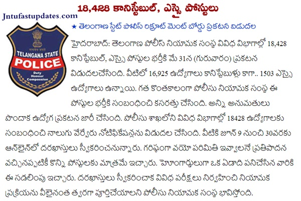 Telangana Police Recruitment 2018 Apply Online