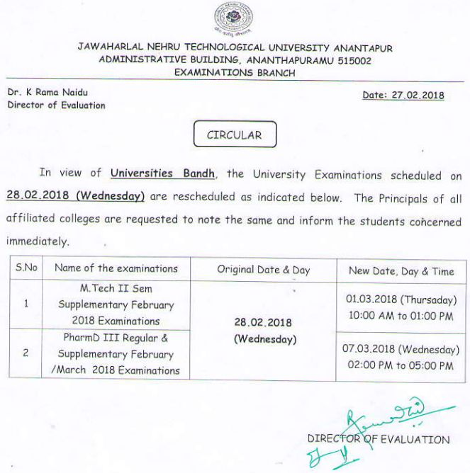Postponement of University Exams scheduled on 28-02-2018