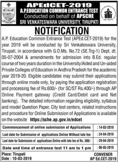 AP EdCET 2019 Notification