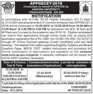 AP PGECET Notification 2018, Exams Dates, Online Application Form @ sche.ap.gov.in