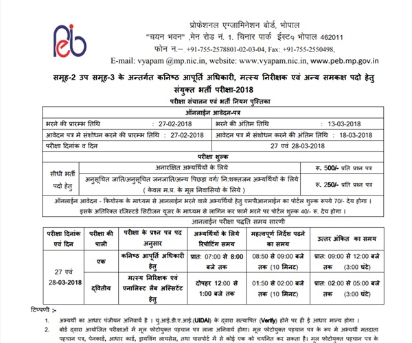 MP Vyapam Group 2 Recruitment 2018