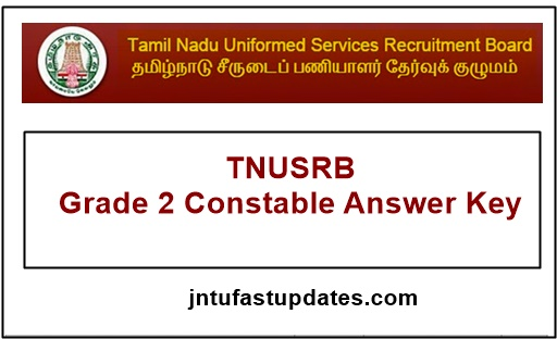 TNUSRB Grade 2 Constable Answer Key 2018