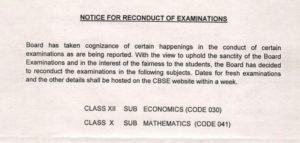CBSE Class 10 Mathematics & Class 12 Economics Paper 2018 To be Reconduct again – Check Revised dates