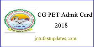 CG PET Admit Card 2018 Download
