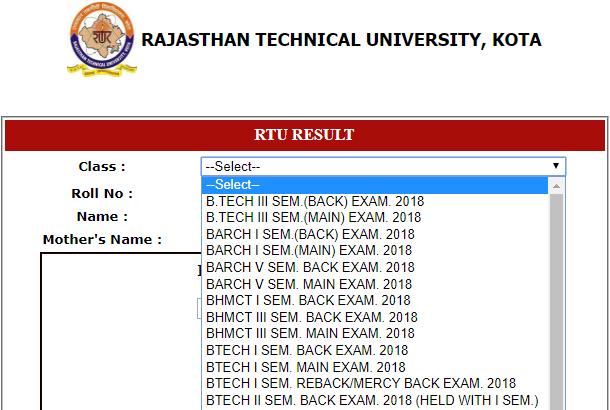 RTU B.Tech 3rd Sem Result 2018