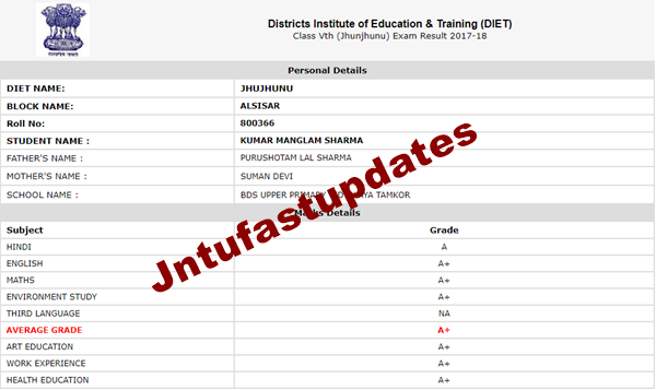 DIET Rajasthan 8th Board Result 2012