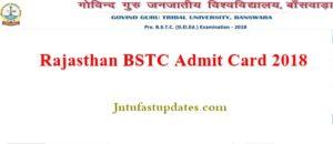 Rajasthan BSTC Admit Card 2018 Download