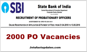 SBI PO Recruitment 2018 – Apply Online For 2000 Probationary Officers Vacancies @ sbi.co.in