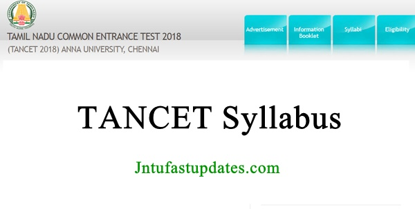 TANCET 2018 Syllabus