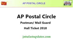 AP Postal Circle Postman/ Mail Guard Admit Card 2018
