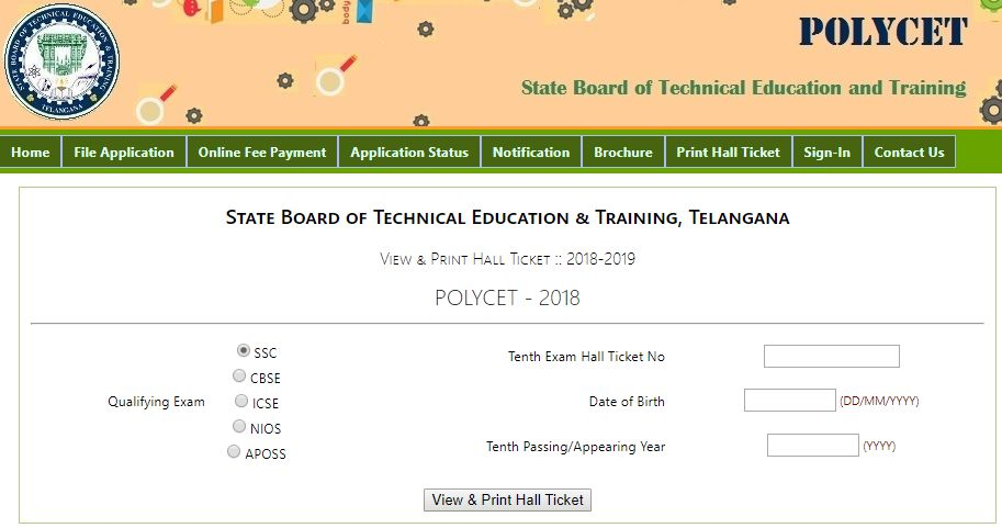 ts polycet hall ticket 2018