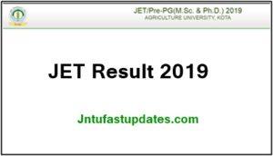 Rajasthan JET Result 2019