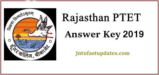 Rajasthan PTET Answer Key 2019 - Download B A B Ed B Sc