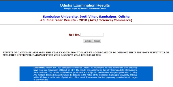 Sambalpur University +3 Final Year Results 2018