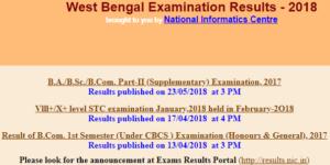 University of Calcutta Result 2017 of B.A, B.Sc, B.Com Part-II Exams @ wbresults.nic.in