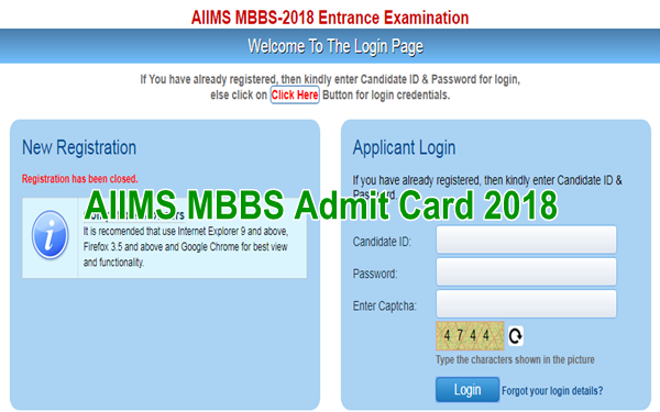 AIIMS MBBS Admit Card 2018 Download