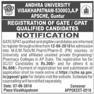 AP PGECET GATE/GPAT Notification 2018, Online Registration Procedure @ sche.ap.gov.in