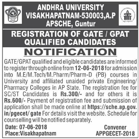 AP PGECET 2018 GATE notification