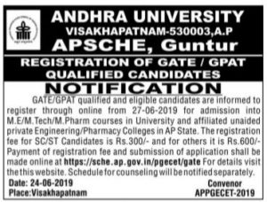 AP PGECET 2019 GATE NotificationAP PGECET 2019 GATE Notification