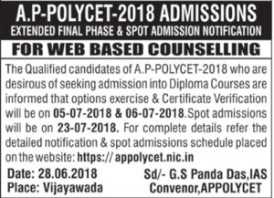 AP Polycet Extended Final Phase Counselling