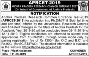 APRCET Notification 2019