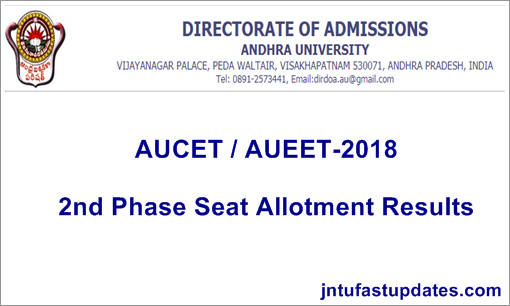 AUCET 2nd Phase Seat Allotment 2018