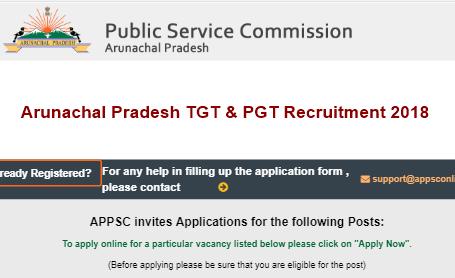 Arunachal Pradesh TGT & PGT Recruitment 2018