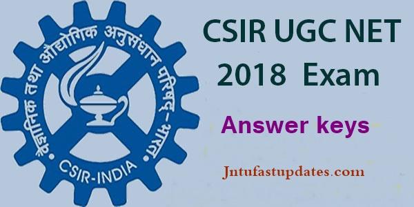 CSIR UGC NET Answer Key 2018 Download