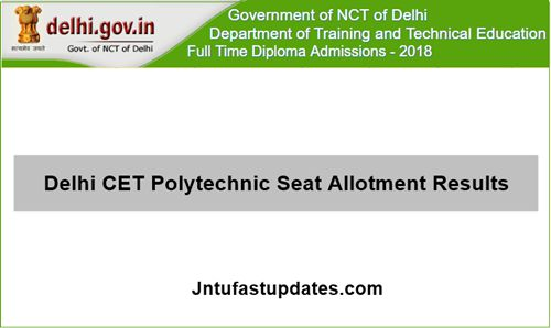 Delhi CET Polytechnic Seat Allotment Result 2018
