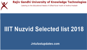 IIIT Nuzvid 2nd Selected list 2018 – List of Candidates selected for counselling @ rguktn.ac.in