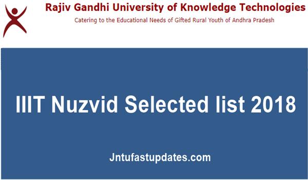 IIIT Nuzvid Selected list 2018