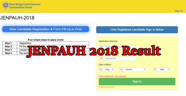 JENPAUH Result 2018 & Rank Card